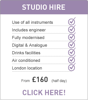 Studio hire from £160 (galf day)