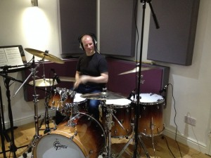 Ed recording drumbs for The Watch